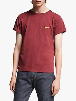 Maison Labiche Wiener Dog Embroidered T-Shirt, Heather Burgundy