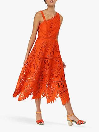 Monsoon Maria Palm Lace Dress, Orange