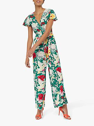 49a265f1c Monsoon Nancy Leaf Print Linen Blend Jumpsuit