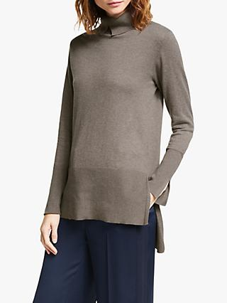 Modern Rarity Split Roll Neck Jumper, Natural