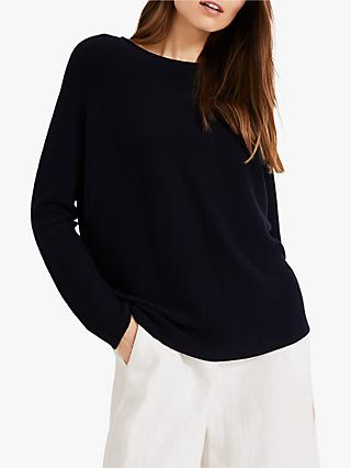 Phase Eight Leia Link Stitch Boat Neck Jumper, Navy