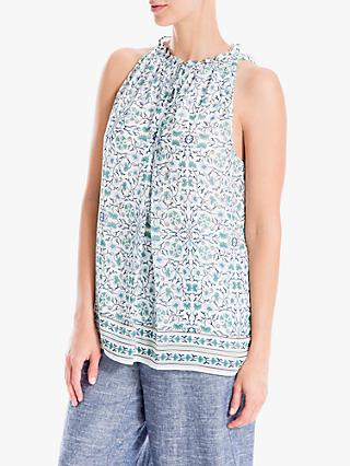 Max Studio Sleeveless Tie Neck Printed Top, Ivory/Blue