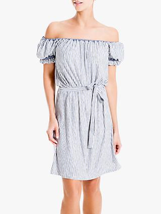 Max Studio Off Shoulder Stripe Jersey Dress, Ivory/Navy