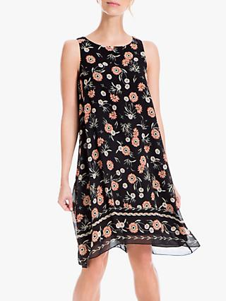 Max Studio Floral Print Swing Dress, Black/Apricot