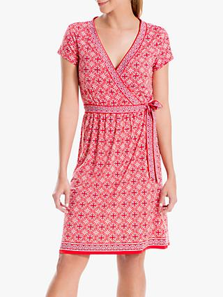 Max Studio Geometric Print Wrap Dress, Red