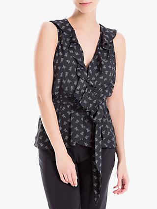 Max Studio Leaf Print Twist Tie Waist Top, Black