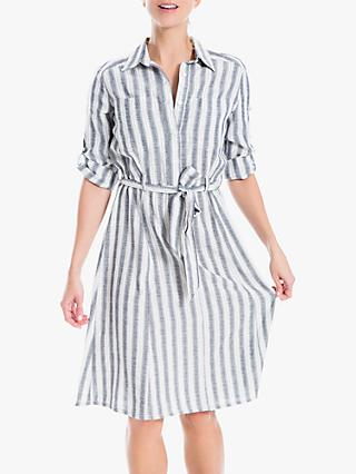 Max Studio Stripe Shirt Dress, Navy/Ivory