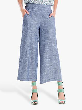 Max Studio Cropped Linen Blend Trousers, Blue