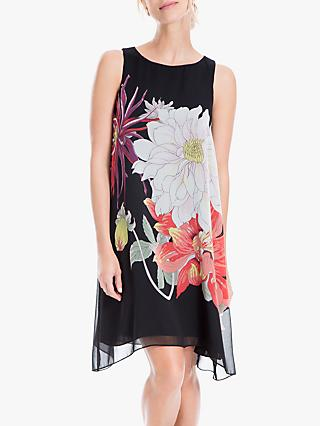Max Studio Floral Draped Dress, Black/Coral