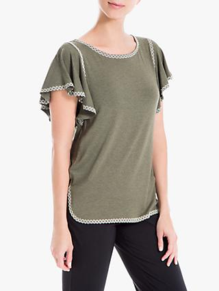 Max Studio Short Sleeve Embroidered Jersey Top, Khaki/Ecru