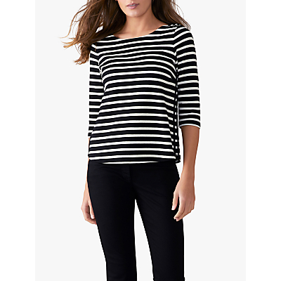 Pure Collection Laced Stripe Top, Black/Ivory