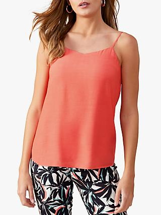 White Stuff V-Neck Cami Top, Bright Coral