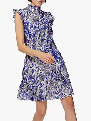 Brora Marble Ruffle Dress, Violet