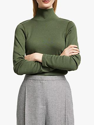 John Lewis & Partners Turtleneck Rib Top, Khaki