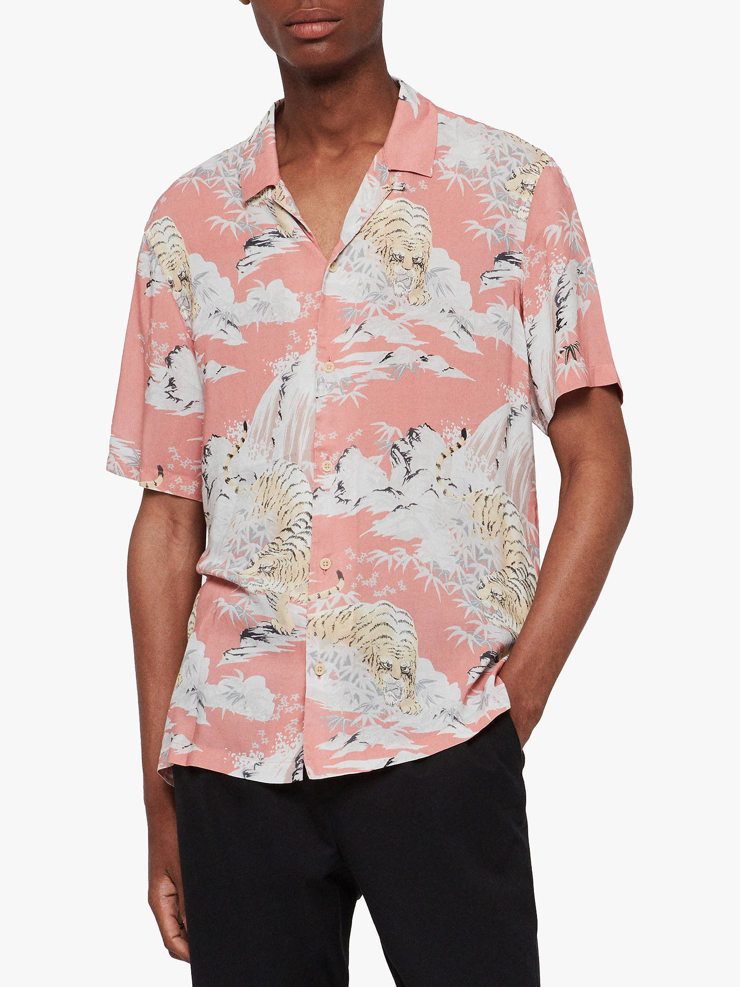 9060b0a4a Buy AllSaints Borneo Japanese Tiger Short Sleeve Shirt, Pink, XS Online at  johnlewis.
