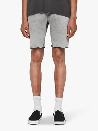 AllSaints Switch Frayed Denim Shorts, Grey