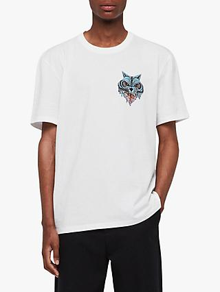 AllSaints Waxwolf Graphic T-Shirt, Optic White