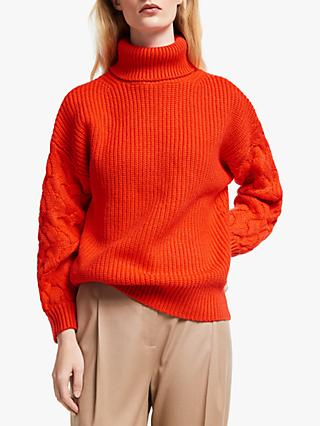 John Lewis & Partners Cable Knit Sleeve Chunky Sweater