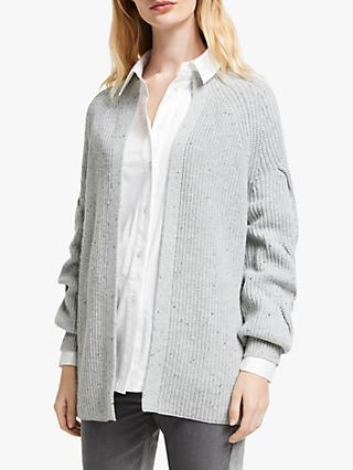 John Lewis & Partners Cable Sleeve Edge To Edge Cardigan