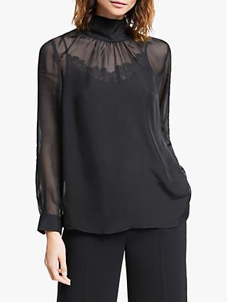 Modern Rarity High Neck Silk Top, Black