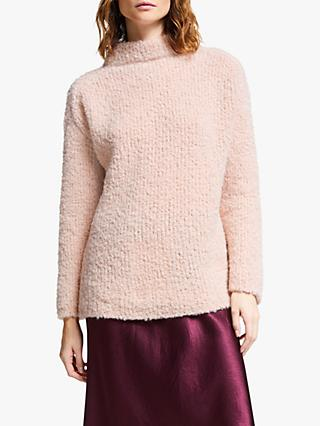 Modern Rarity Textured Roll Neck Jumper, Pink