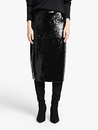 John Lewis & Partners Sequin Pencil Skirt, Black
