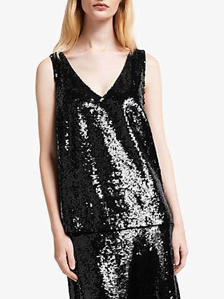 John Lewis & Partners Sequin V-Neck Top