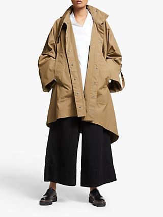 Kin Asymmetric Poncho Waxed Cotton Coat, Neutral