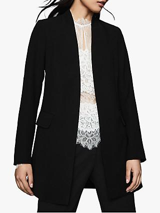 Reiss Tally Collarless Jacket, Black