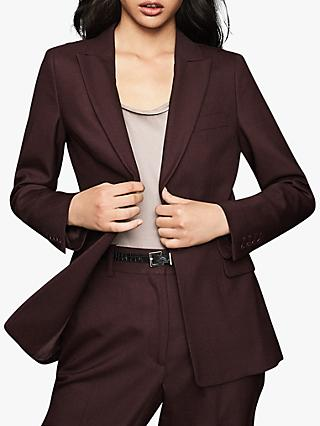 Reiss Lissia Single Breasted Jacket, Berry