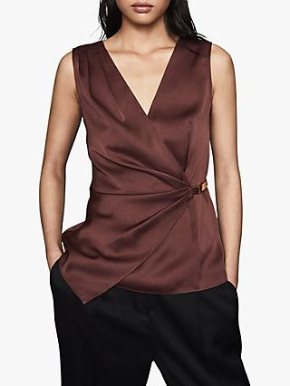 Reiss Wendy Sleeveless Hardware Detail Satin Top, Chocolate