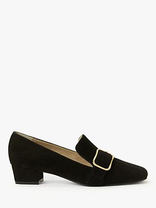John Lewis & Partners Amelie Suede Low Heel Court Shoes, Black