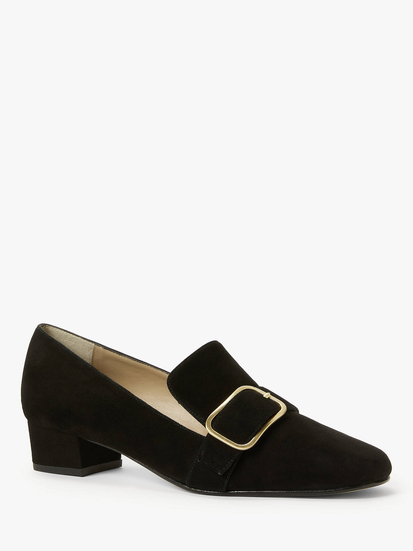 Buy John Lewis & Partners Amelie Suede Low Heel Court Shoes, Black, 4 Online at johnlewis.com