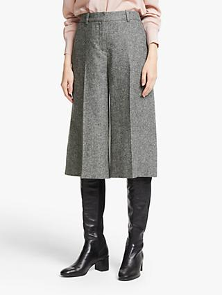 John Lewis & Partners Tweed Culottes, Black/White