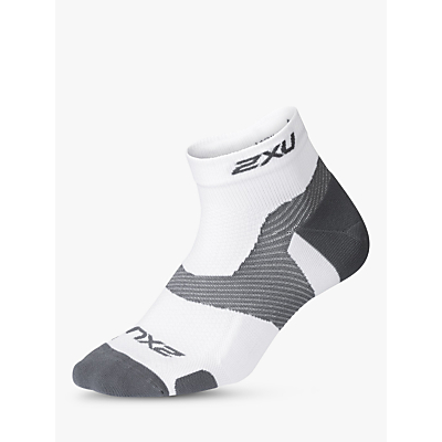 2XU Vectr Light Cushion Compression Socks, White/Grey