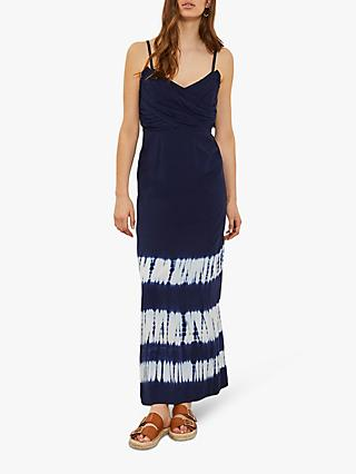 Mint Velvet Della Print Tie Dye Maxi Dress, Indigo/Multi