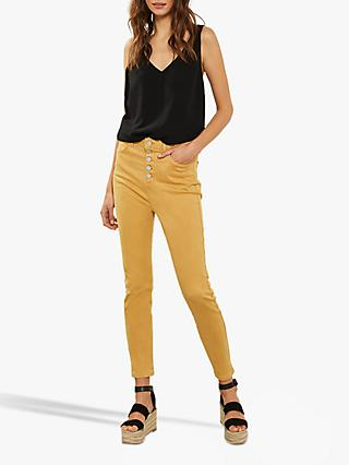 Mint Velvet Ochre Joliet Button Fly Jeans, Yellow