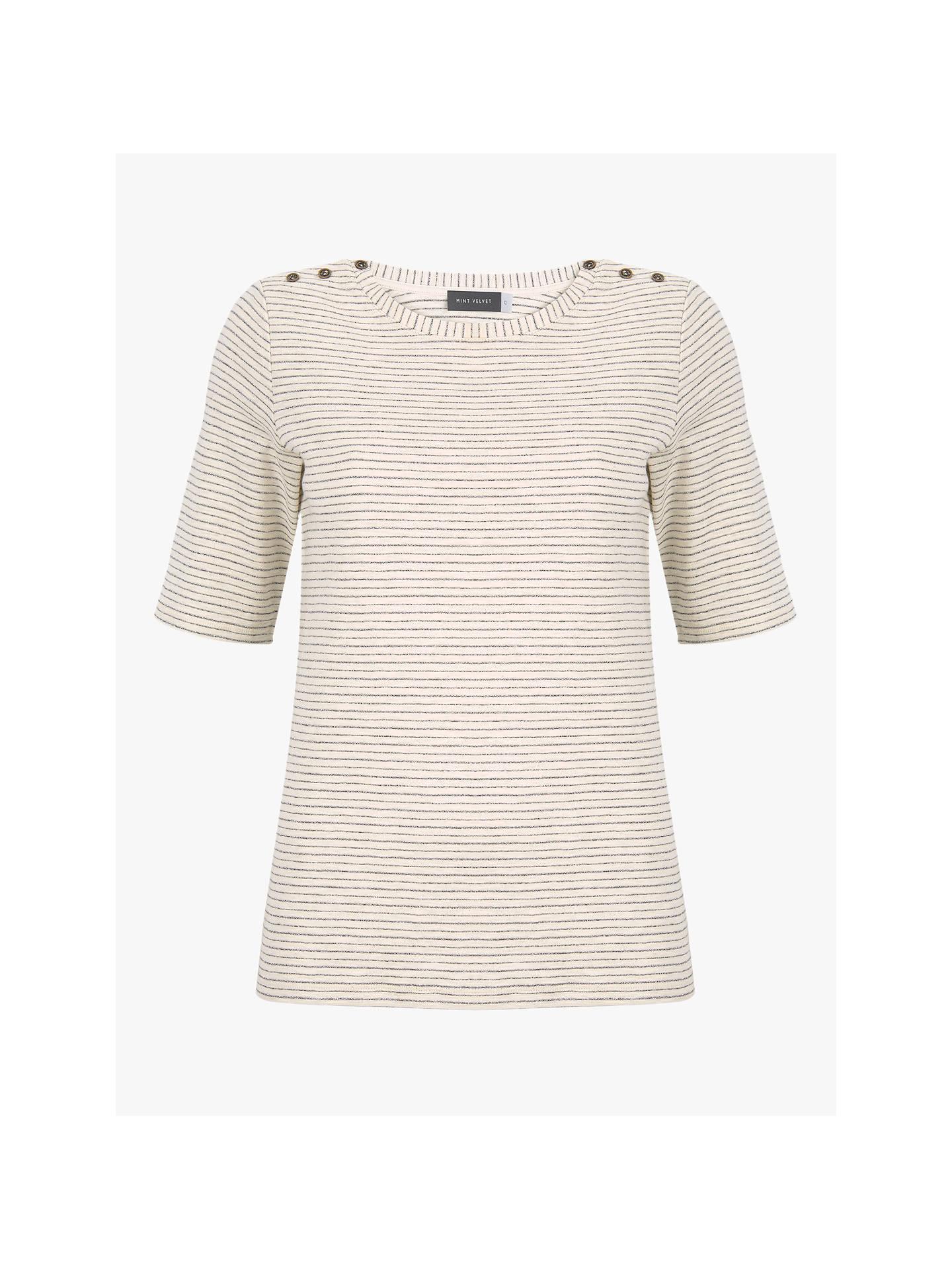 d6d2543882 Buy Mint Velvet Thin Striped Short Sleeve T-Shirt, Ecru/Silver, XS ...