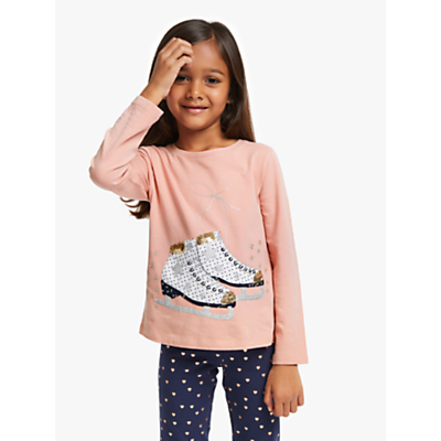 John Lewis & Partners Girls' Sequin Ice Skates T-Shirt, Light Pink