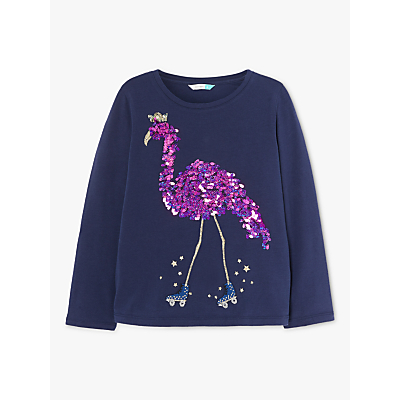John Lewis & Partners Girls' Sequin Embellished Flamingo T-Shirt, Navy