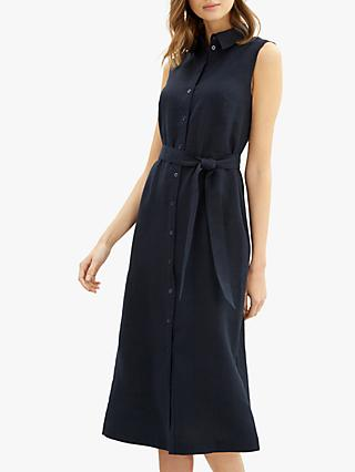Jaeger Linen Tie Dress, Navy