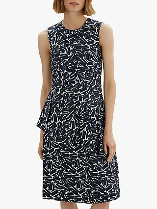 Jaeger Circle Block Cotton Dress, Navy