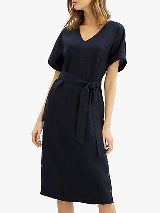 Jaeger Linen Button Dress, Navy