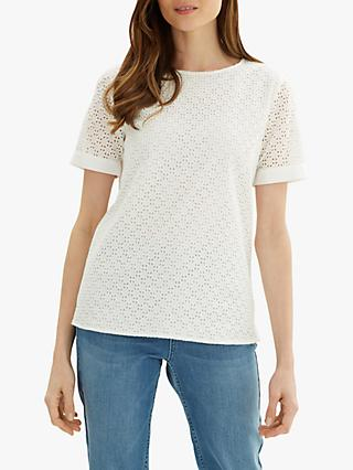 Jaeger Broderie Cotton Top, White