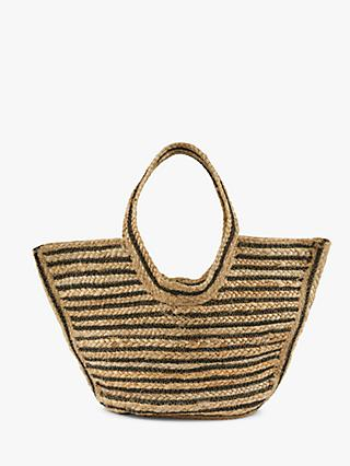 Jaeger Georgie Straw Bag, Black