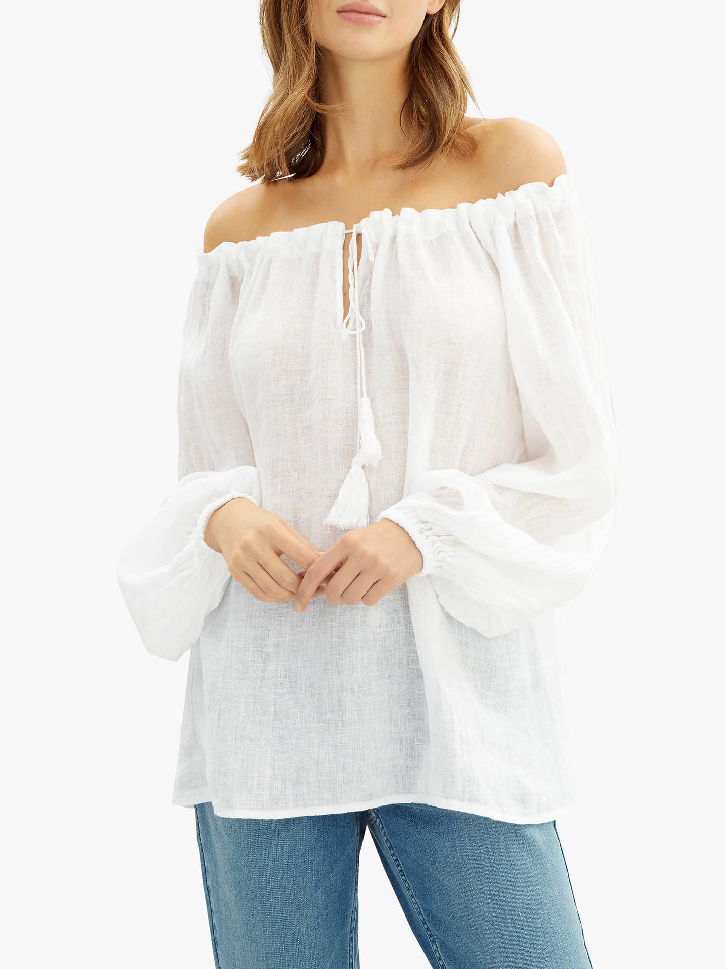 94313f03 Buy Jaeger Gauze Linen Tunic, White, 6 Online at johnlewis.com ...