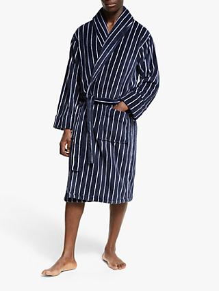 John Lewis & Partners Sheared Fleece Stripe Robe, Navy