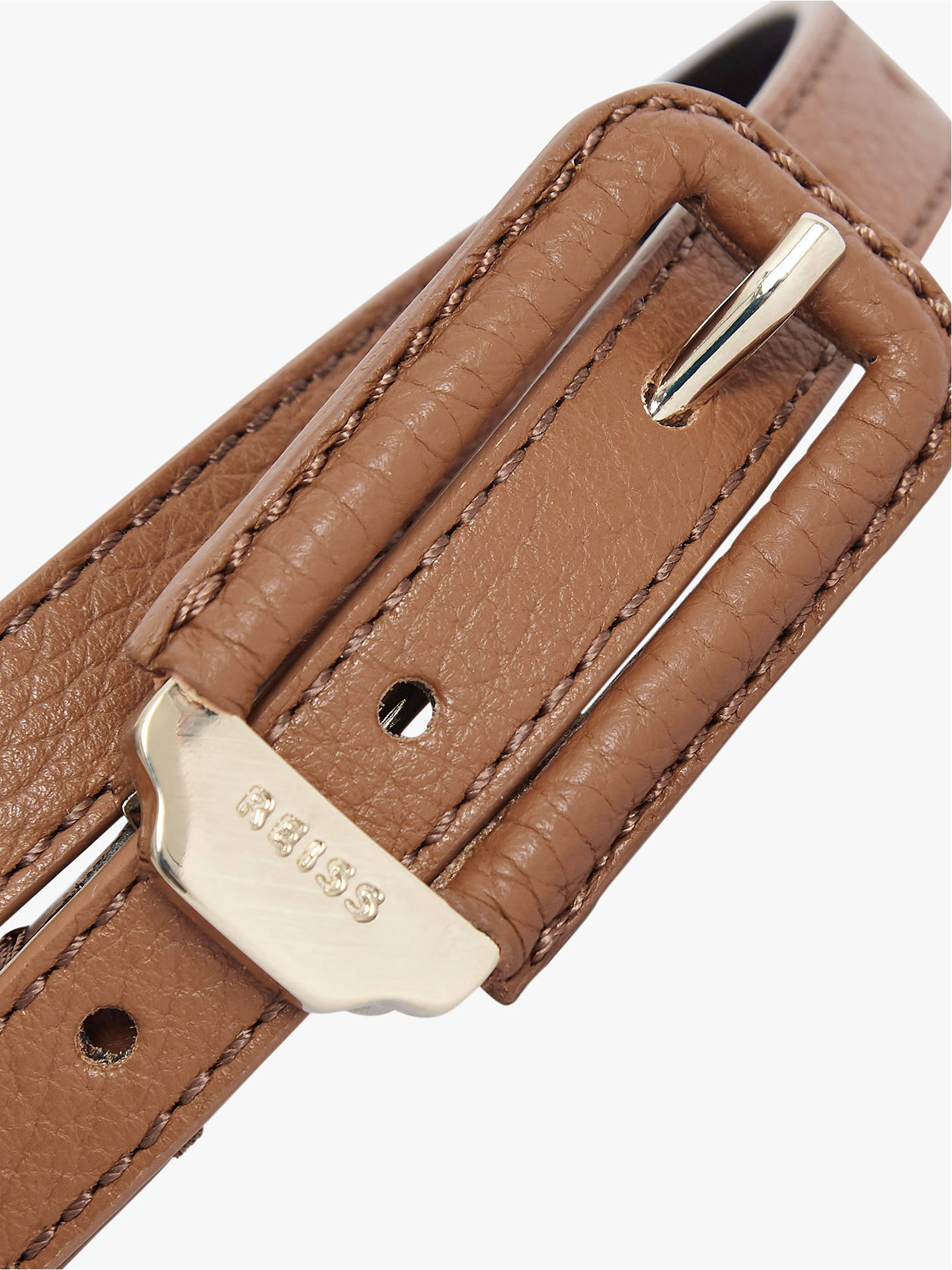 Buy Reiss Paloma Skinny Leather Belt, Tan, XS Online at johnlewis.com