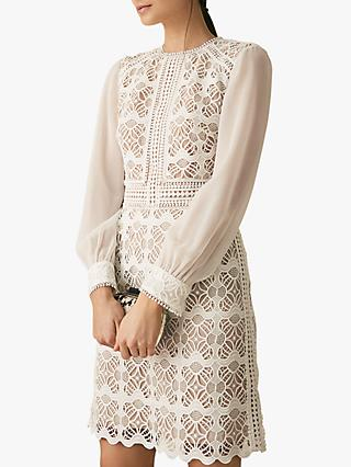 Reiss Aria Sheer Lace Dress, White