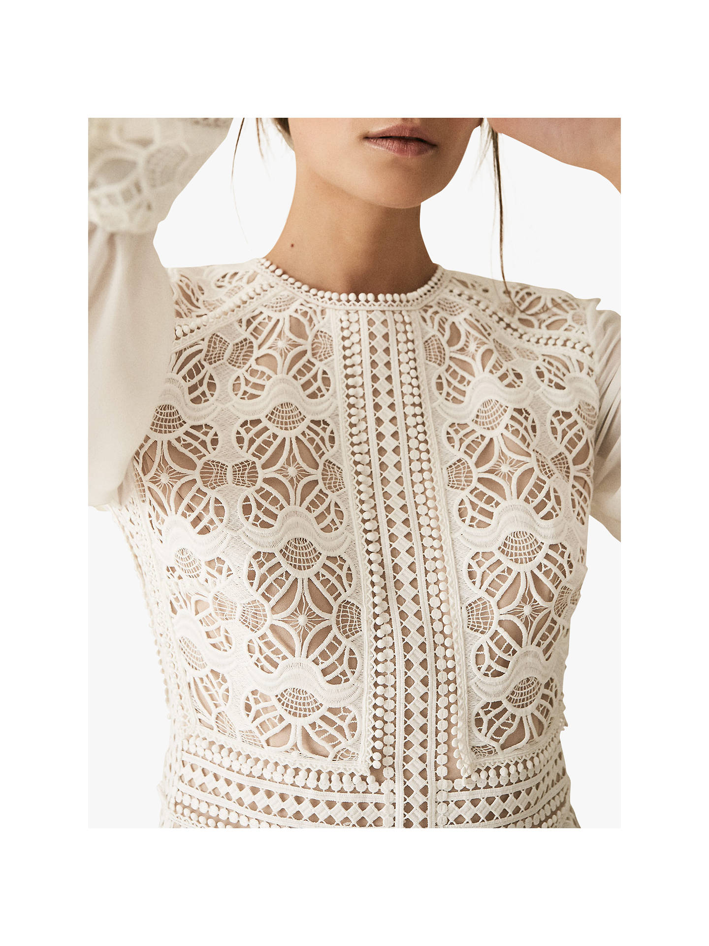 Buy Reiss Aria Sheer Lace Dress, White, 6 Online at johnlewis.com
